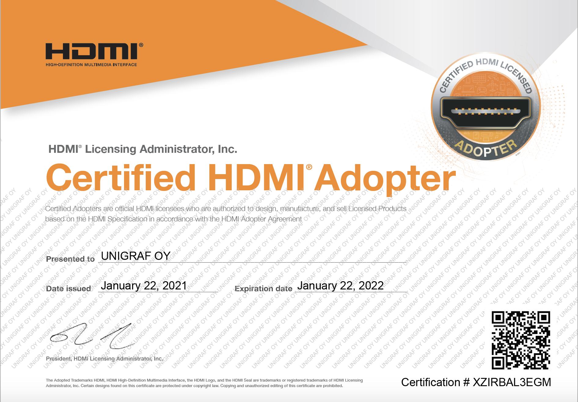 HDMI certificate